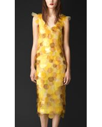 Burberry Sequin Embroidered Silk Dress yellow - Lyst