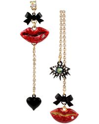 Betsey Johnson Goldtone Mismatched Multicharm Lips Earrings - Lyst