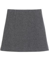 Miu Miu Gray Wool Miniskirt - Lyst