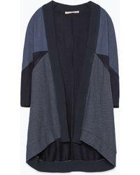 Zara Indigo Color Blocs Jacket blue - Lyst