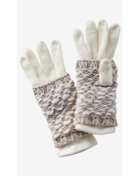 Express - Ivory 2-in-1 Layered Gloves - Lyst