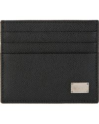 Dolce & Gabbana Black Pebbled Leather Card Holder - Lyst