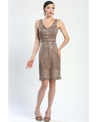 Sue Wong Floral Embroidered Cocktail Dress - Lyst