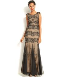 Adrianna Papell Cap-sleeve Embellished Mermaid Gown - Lyst