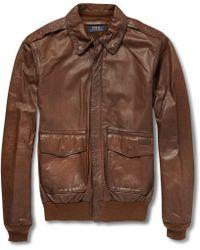 Polo Ralph Lauren Farrington Leather Bomber Jacket - Lyst