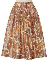 Oscar de la Renta Printed Taffeta Midi Skirt - Lyst
