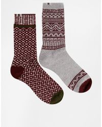 Bellfield - 2 Pack Socks In Fairisle - Lyst