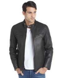 Vince Camuto Black Leather Tab Collar Zip Front Jacket - Lyst
