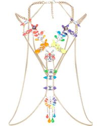 River Island Gold Tone Multicolored Gem Body Harness - Lyst