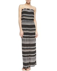 Splendid Safari Striped Strapless Maxi Dress Black - Lyst