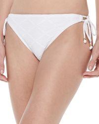 Shoshanna Textured Tie-Side Swim Bottoms - Lyst