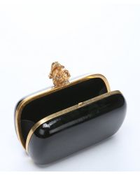 Alexander McQueen Black Patent Leather 'New Punk Skull' Clutch - Lyst