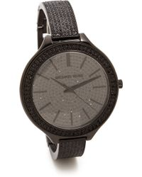 Michael Kors Midnight Safari Slim Runway Watch Black - Lyst