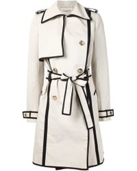 Lanvin | Contrast Piped Trim Trench Coat | Lyst