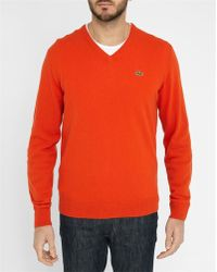 Lacoste | Bright-red Pr V-neck Sweater | Lyst
