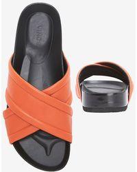 Vince - Orson Flat Cross Strap Sandal: Flame - Lyst