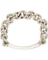 Maison Margiela Silver Curb Chain Distressed Id Bracelet - Lyst