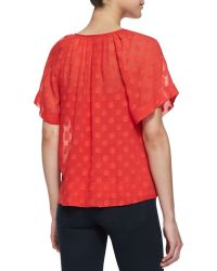 Ella Moss Sabine Swiss Dot Silk Top - Lyst