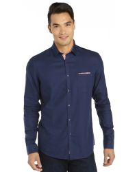 Stone Rose Navy Cotton Woven Long Sleeve Button Front Shirt with Gingham Trim - Lyst