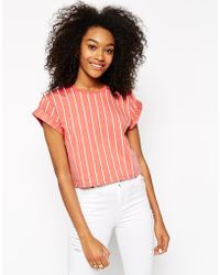 Asos Cropped Boyfriend T-Shirt With Vertical Pinstripe pink - Lyst