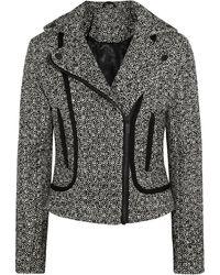 Karl Lagerfeld Burel Satin-trimmed Tweed Biker Jacket - Lyst