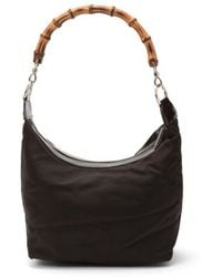 Gucci Preowned Dark Brown Bamboo Detail Shoulder Bag - Lyst