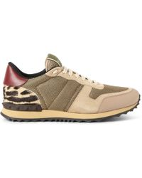 Valentino Leather-Trimmed Mesh, Suede And Calf-Hair Sneakers - Lyst