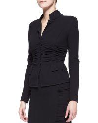 Donna Karan - Long-Sleeve Crushed Cardigan Jacket - Lyst