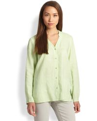 Eileen Fisher Linen Oversized Button-Down Shirt - Lyst