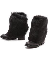Pedro Garcia Odette Fur Lined Boots Black - Lyst