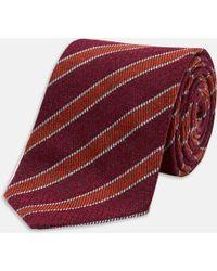 Turnbull & Asser | Slim Informalist Outline Stripe Burgundy And Orange Cashmere Blend Tie | Lyst