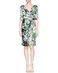 St. John Floral Print Ruched Charmeuse Dress - Lyst