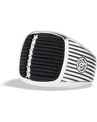 David Yurman Royal Cord Ring with Black Onyx and Diamonds - Lyst