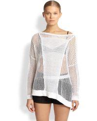 Helmut Lang Guyton Asymmetrical Openknit Linen Sweater - Lyst