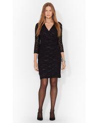 Lauren by Ralph Lauren Sequined Lace Surplice Dress - Lyst