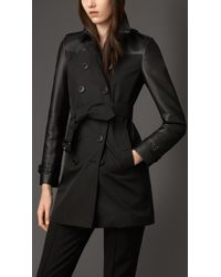 Burberry Nappa Leather And Gabardine Trench Coat - Lyst