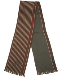 Gucci Brown Cotton Striped Accent Scarf - Lyst
