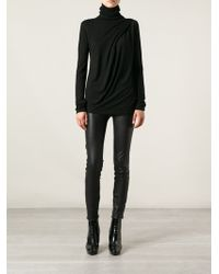 Ann Demeulemeester Draped Turtleneck Sweater - Lyst