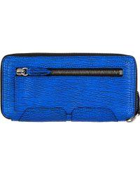3.1 Phillip Lim - Electric Blue Textured Leather Pashli Wallet - Lyst