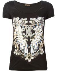 Roberto Cavalli Jewel Print Apliqué T-Shirt - Lyst