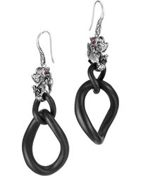 John Hardy Batu Naga Silver  18k Gold Double Drop Earrings - Lyst