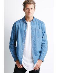21men Button-Collar Chambray Shirt - Lyst