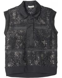 Rebecca Taylor Sleeveless Foil Lace Top - Lyst