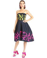 Oscar de la Renta Scroll Embroidered Silk Faille Cocktail Dress - Lyst