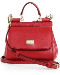 Dolce & Gabbana Sicily Micro Textured Leather Top-Handle Satchel red - Lyst