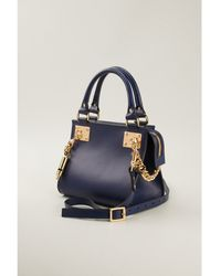 Sophie Hulme Navy Mini Side Chain Bag - Lyst