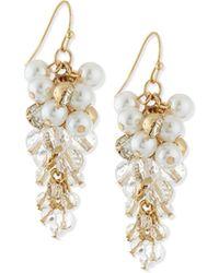 R.j. Graziano - Pearly Bead & Crystal Drop Earrings - Lyst