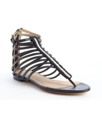 L.a.m.b. Black and White Leather Strappy Pluto Sandals - Lyst