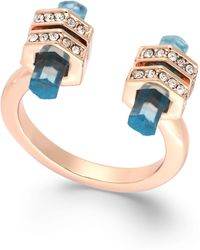 House Of Harlow Rose Gold-tone Blue Bar Open Ring - Lyst