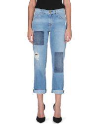 Current/Elliott The Fling Slim Boyfriend Midrise Jeans Kasey W Repair - Lyst